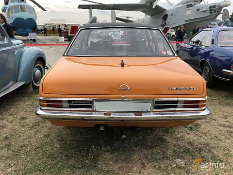 Back of Opel Rekord 4-door 1.9 S Automatic, 90ps, 1975 at Old Car Land no.2 2019