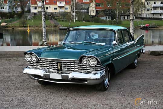 Front/Side  of Plymouth Belvedere 4-door Sedan 5.2 V8 TorqueFlite, 233ps, 1959 at Kungälvs Kulturhistoriska Fordonsvänner  2018 v.35