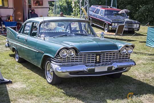 Front/Side  of Plymouth Belvedere 4-door Sedan 5.2 V8 TorqueFlite, 233ps, 1959 at Nostalgifestivalen i Vårgårda 2016