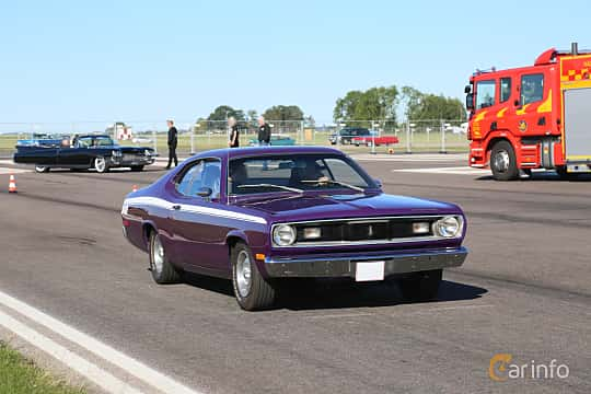Front/Side  of Plymouth Duster 5.2 V8 TorqueFlite, 152ps, 1972 at Lidköping Power Big Meet  2019