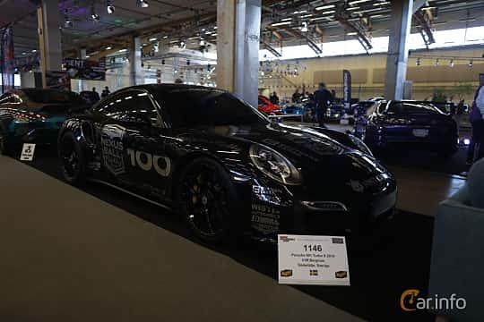 Fram/Sida av Porsche 911 Turbo S 3.8 H6 4 PDK, 560ps, 2014 på Bilsport Performance & Custom Motor Show 2019