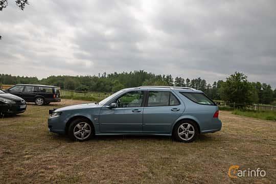 Side  of Saab 9-5 SportCombi 2.3 T BioPower Automatic, 210ps, 2007 at Saxtorp Saabklubbens Skånia marknad 2019