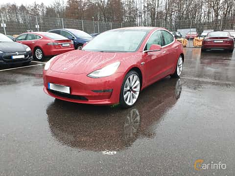 Fram/Sida av Tesla Model 3 Performance 75 kWh AWD Single Speed, 462ps, 2019