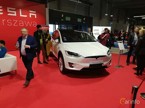 Front/Side  of Tesla Model X 90D 90 kWh AWD Single Speed, 423ps, 2018 at Warsawa Motorshow 2018