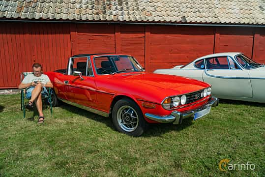Front/Side  of Triumph Stag 3.0 V8 Automatic, 147ps, 1977 at Sportbilsklassiker Stockamöllan 2019