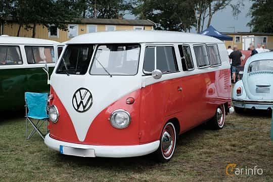 Front/Side  of Volkswagen Transporter 1200 Minibus 1.2 Manual, 34ps, 1960 at West Coast Bug Meet 2019
