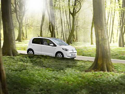 Front/Side  of Volkswagen e-up! 18 kWh Single Speed, 82hp, 2015