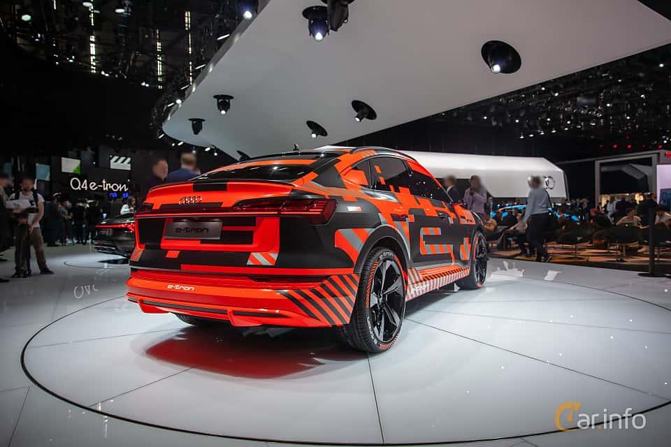 Back/Side of Audi e-tron 55 quattro  Single Speed, 408ps, 2019 at Geneva Motor Show 2019