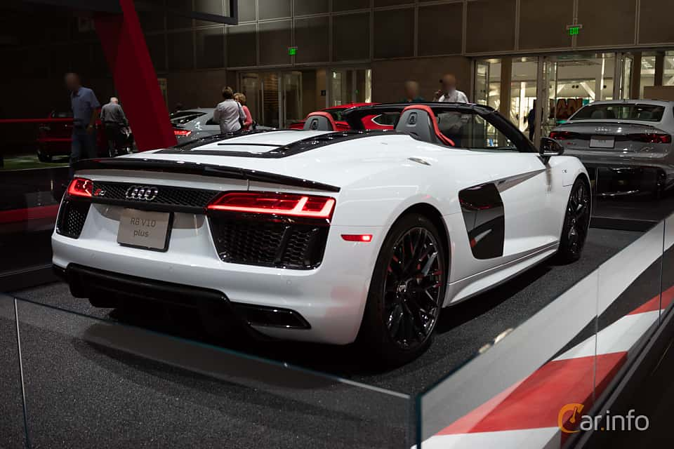 Back/Side of Audi R8 Spyder V10 plus 5.2 V10 FSI quattro S Tronic, 610ps, 2018 at LA Motor Show 2018