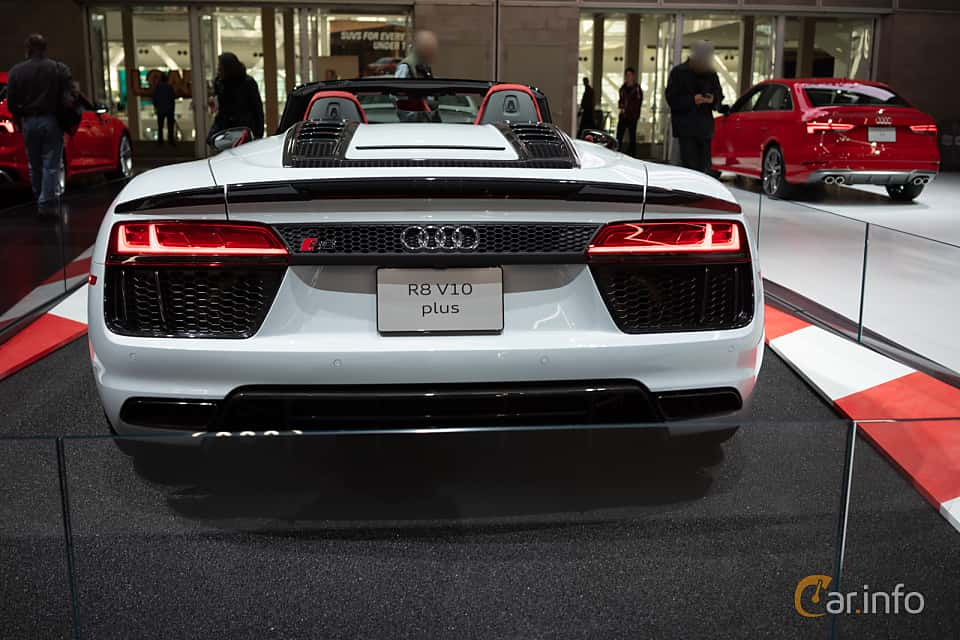 Back of Audi R8 Spyder V10 plus 5.2 V10 FSI quattro S Tronic, 610ps, 2018 at LA Motor Show 2018