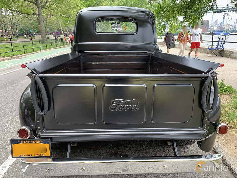 Back of Ford F Pickup 3.7 Manual, 97ps, 1949 at Father's Day Classic Car Show New York 2019