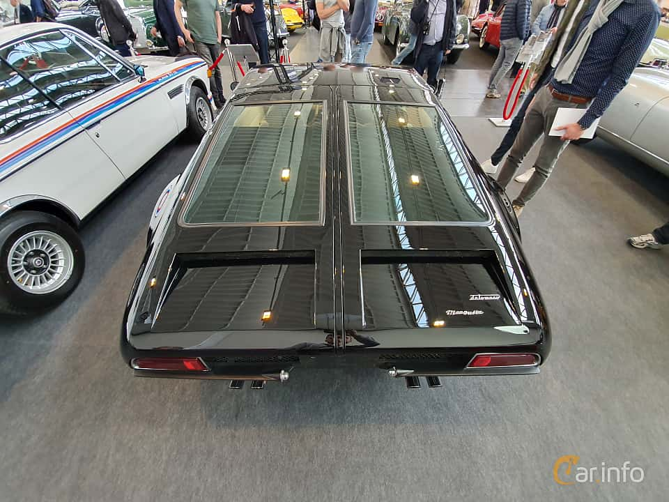 Back of De Tomaso Mangusta 4.7 V8 Manual, 306ps, 1969 at Techno Classica Essen 2019