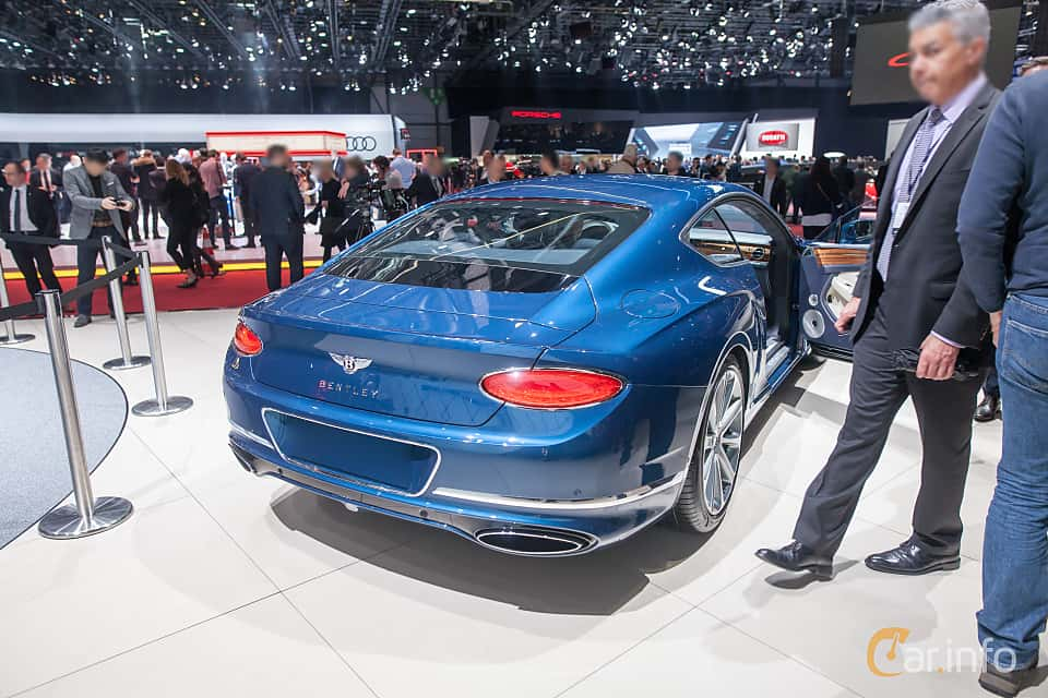 Back/Side of Bentley Continental GT 6.0 W12 TSI DCT, 635ps, 2018 at Geneva Motor Show 2018