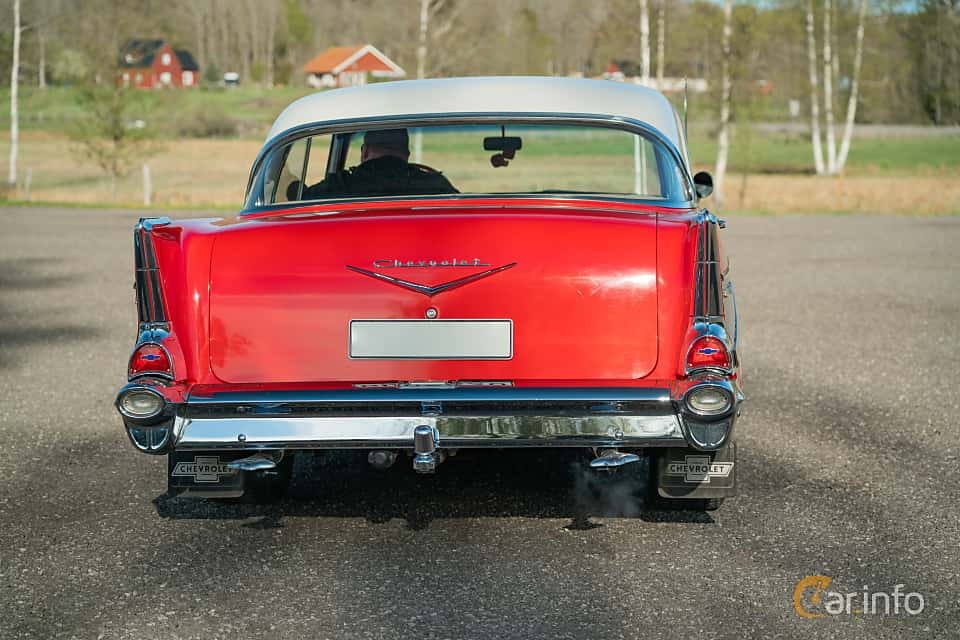 Back of Chevrolet 210 Sport Sedan 3.9 Powerglide, 142ps, 1957 at Lissma Classic Car 2019 vecka 20