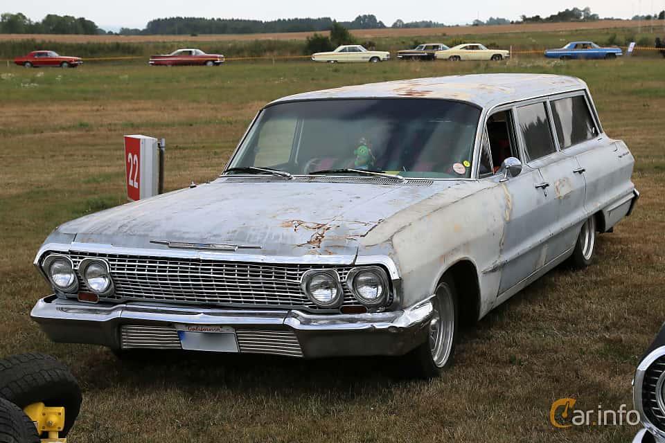 Front/Side  of Chevrolet Bel Air 6-passenger Station Wagon 4.6 V8 Powerglide, 198ps, 1963 at Falköping Nasco Yankee Meet 2018