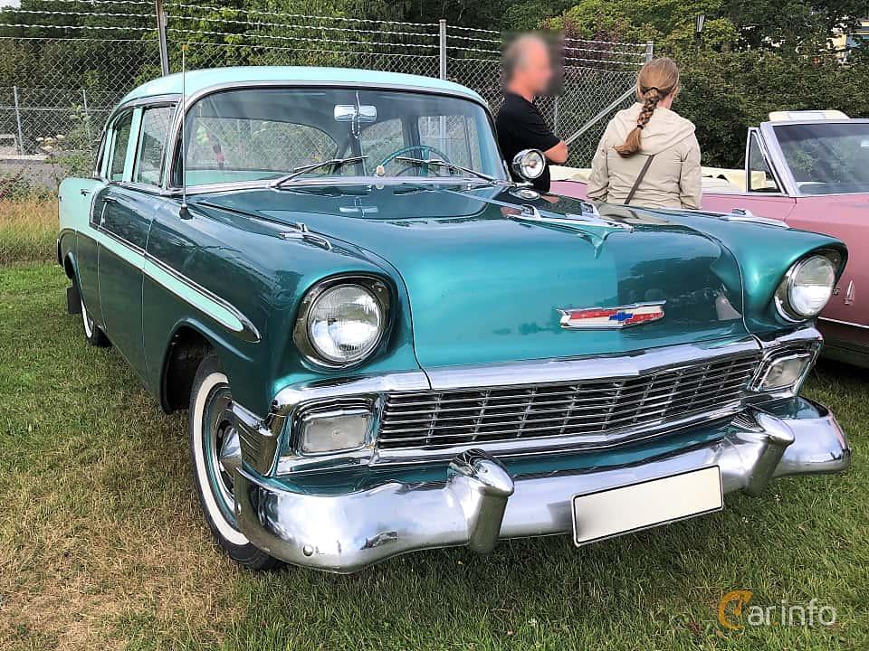 Front/Side  of Chevrolet Bel Air 4-door Sedan 3.9 Powerglide, 142ps, 1956 at Bil & MC-träffar i Huskvarna Folkets Park 2019 vecka 32 tema Hot Rods