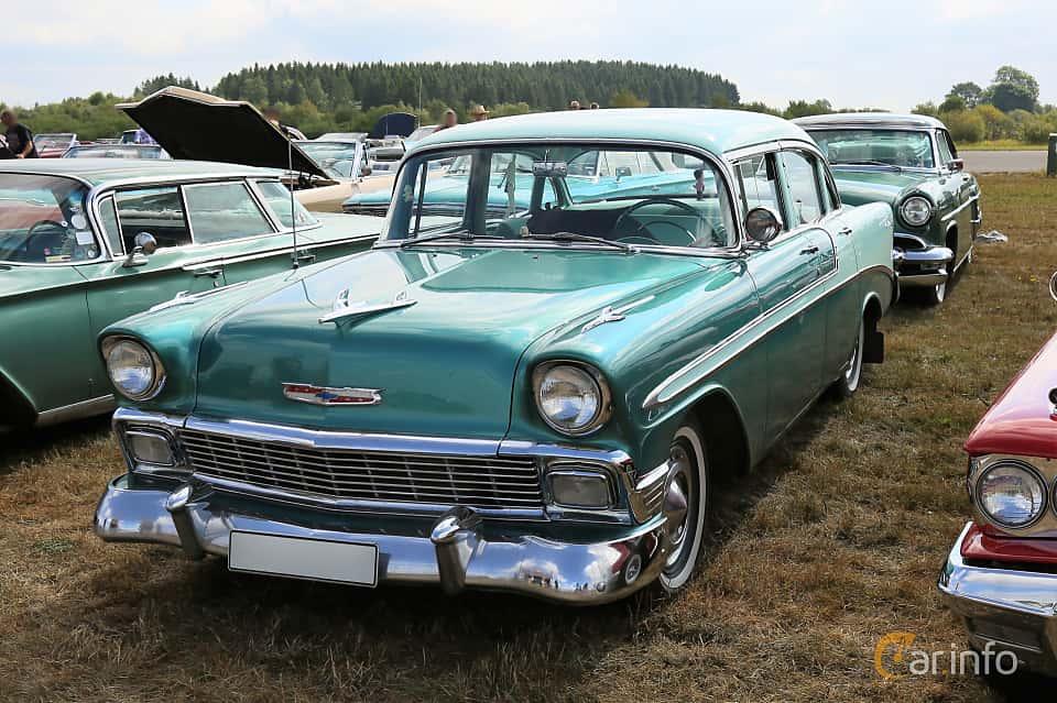 Front/Side  of Chevrolet Bel Air 4-door Sedan 3.9 Powerglide, 142ps, 1956 at Falköping Nasco Yankee Meet 2018