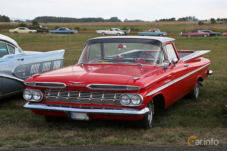 Front/Side  of Chevrolet El Camino 3.9 Manual, 137ps, 1959 at Falköping Nasco Yankee Meet 2018