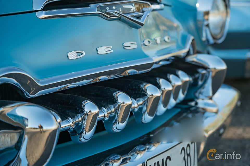 Close-up of DeSoto Firedome Sedan 4.5 V8 Automatic, 188ps, 1955 at Lissma Classic Car 2019 vecka 20