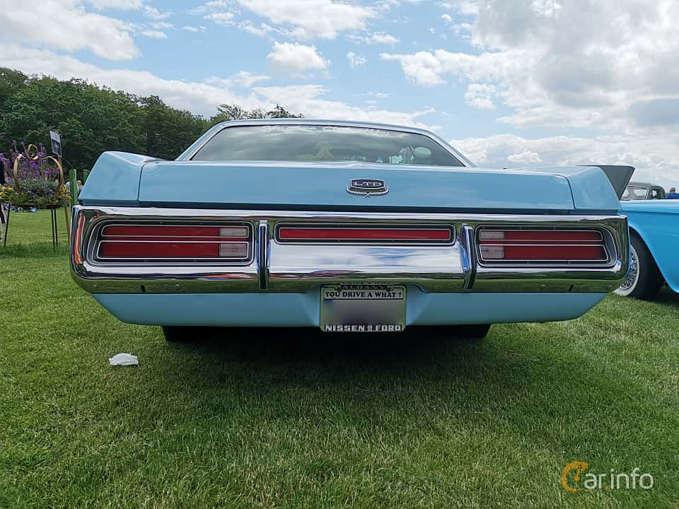 Back of Ford LTD Brougham 2-door Hardtop 7.0 V8 Automatic, 215ps, 1972 at Sofiero Classic 2019