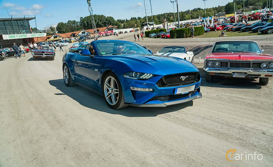 Front/Side  of Ford Mustang GT Convertible 5.0 V8 Automatic, 450ps, 2018 at Stockholm Vintage & Sports Car meet 2019