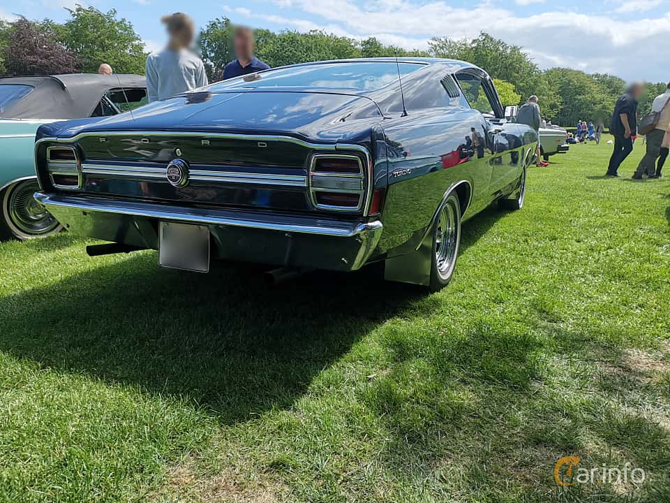 Back/Side of Ford Torino GT Fastback 4.7 V8 Automatic, 198ps, 1968 at Sofiero Classic 2019