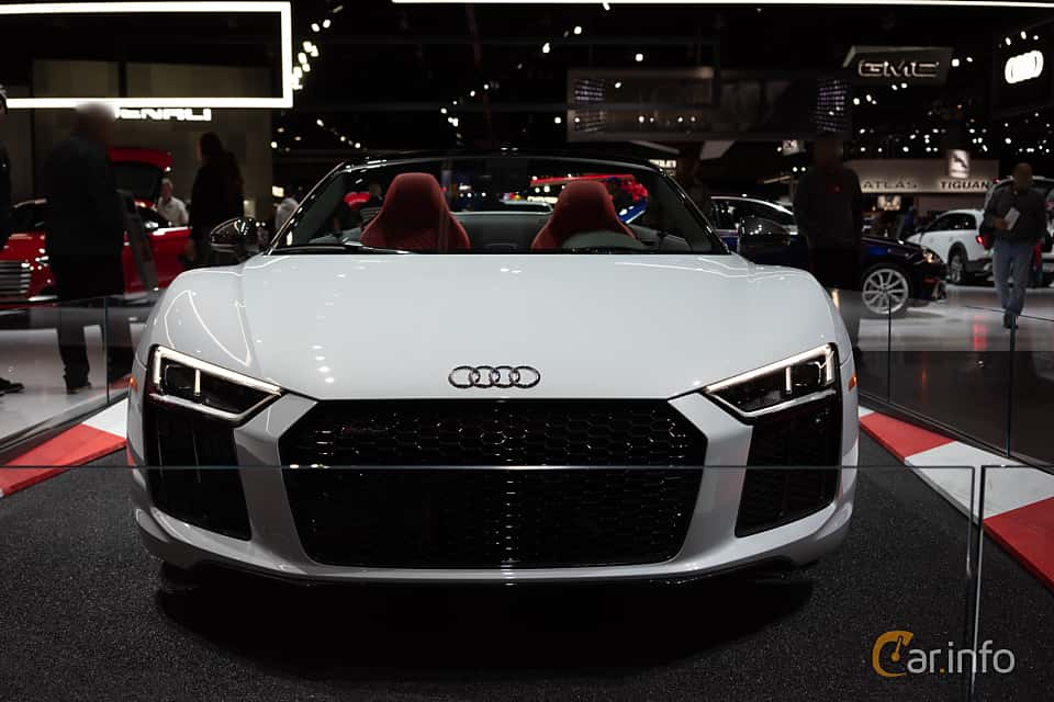 Front  of Audi R8 Spyder V10 plus 5.2 V10 FSI quattro S Tronic, 610ps, 2018 at LA Motor Show 2018