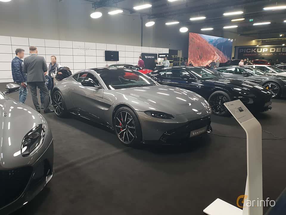 Front/Side  of Aston Martin Vantage 4.0 V8 Automatic, 510ps, 2018 at Warsawa Motorshow 2018