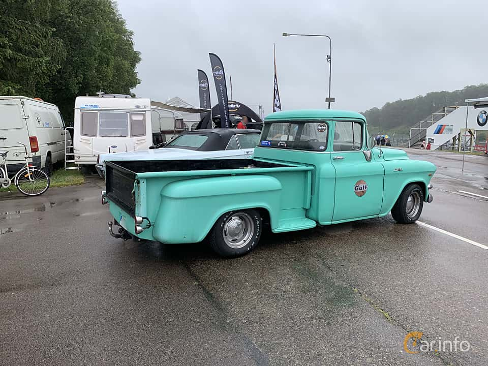 Back/Side of GMC Blue Chip 100 Pickup 5.2 V8 Automatic, 183ps, 1956 at Svenskt sportvagnsmeeting 2019