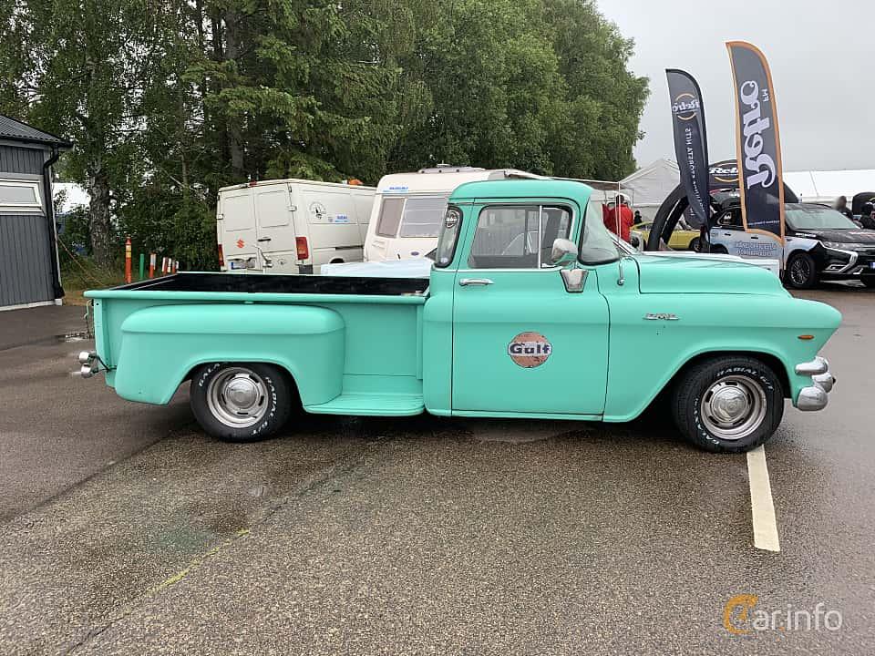 Side  of GMC Blue Chip 100 Pickup 5.2 V8 Automatic, 183ps, 1956 at Svenskt sportvagnsmeeting 2019