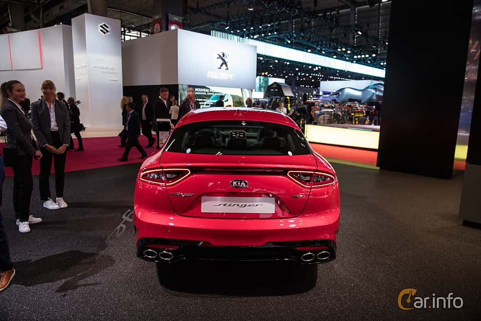 Back of Kia Stinger GT 3.3 V6 T-GDI AWD Automatic, 370ps, 2019 at Paris Motor Show 2018