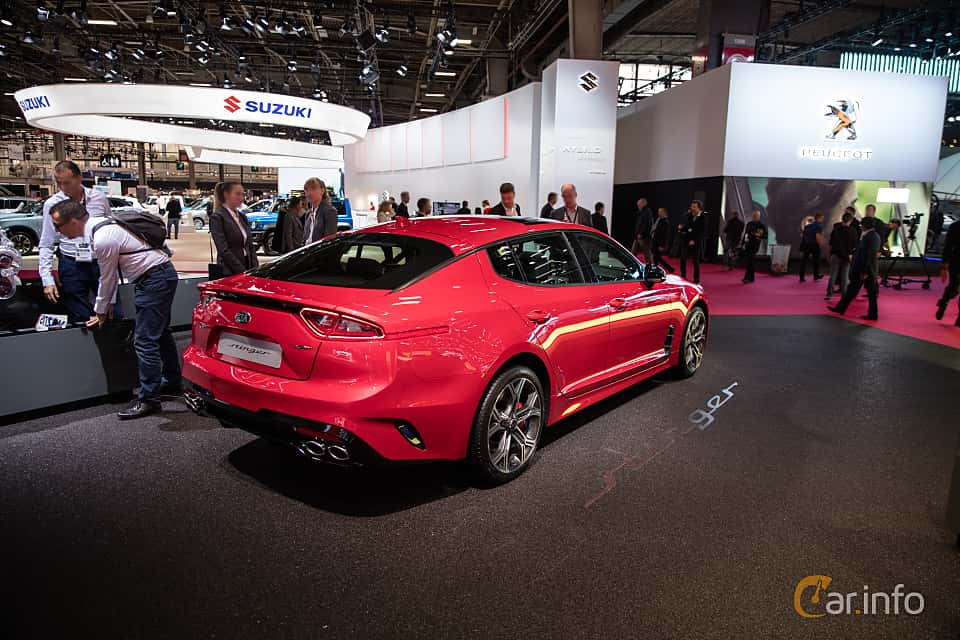 Back/Side of Kia Stinger GT 3.3 V6 T-GDI AWD Automatic, 370ps, 2019 at Paris Motor Show 2018