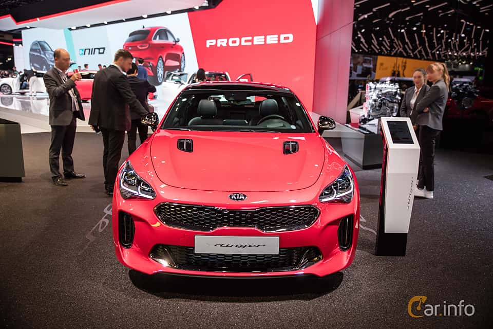 Front  of Kia Stinger GT 3.3 V6 T-GDI AWD Automatic, 370ps, 2019 at Paris Motor Show 2018