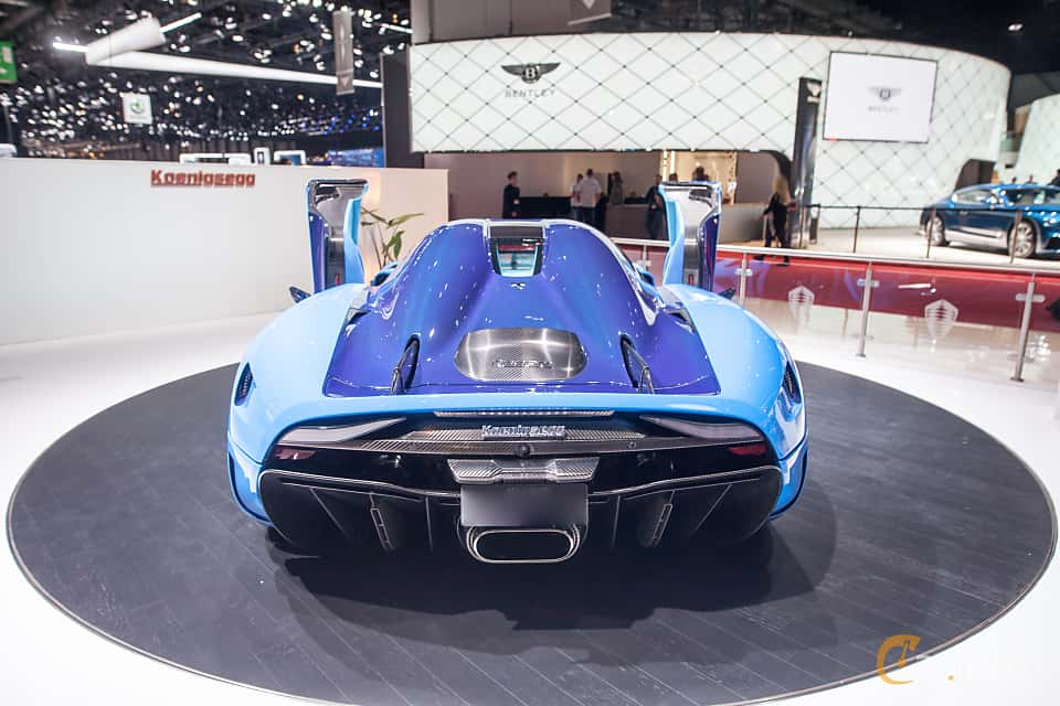 Back of Koenigsegg Regera 5.0 V8 KDD, 1500ps, 2018 at Geneva Motor Show 2018