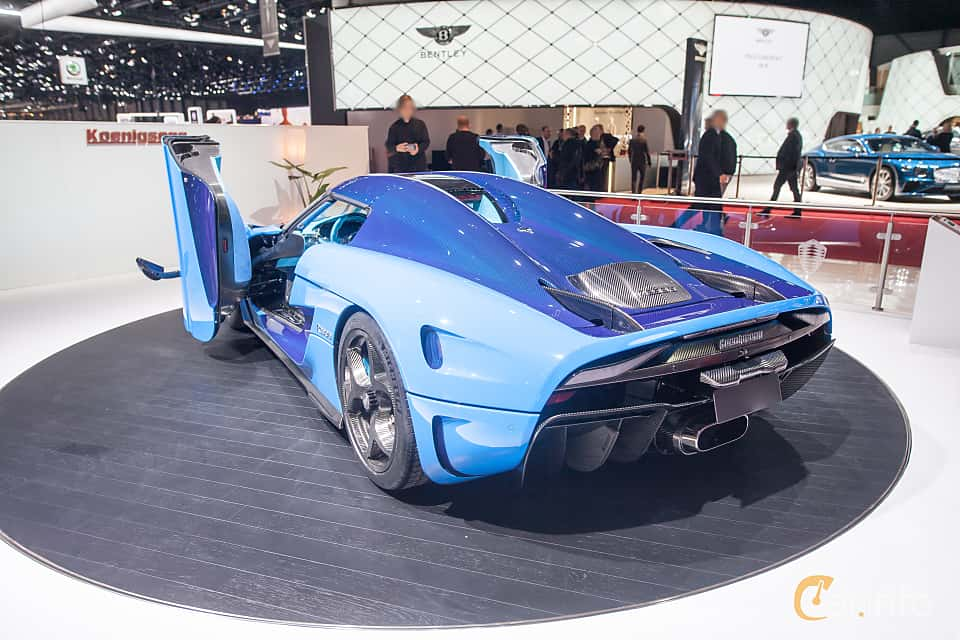 Back/Side of Koenigsegg Regera 5.0 V8 KDD, 1500ps, 2018 at Geneva Motor Show 2018