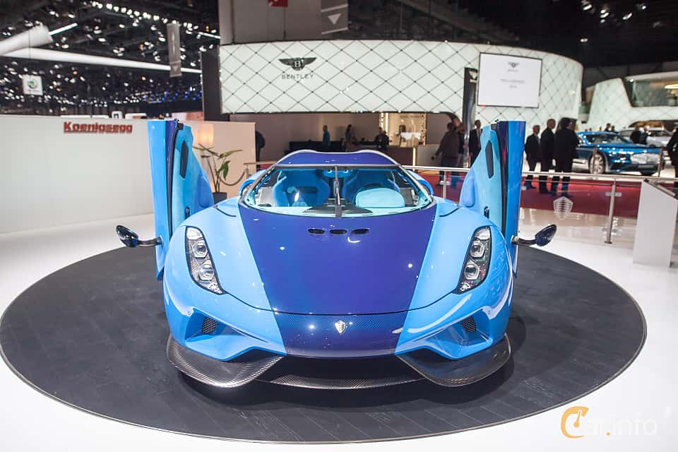 Front  of Koenigsegg Regera 5.0 V8 KDD, 1500ps, 2018 at Geneva Motor Show 2018