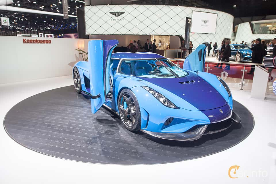 Front/Side  of Koenigsegg Regera 5.0 V8 KDD, 1500ps, 2018 at Geneva Motor Show 2018