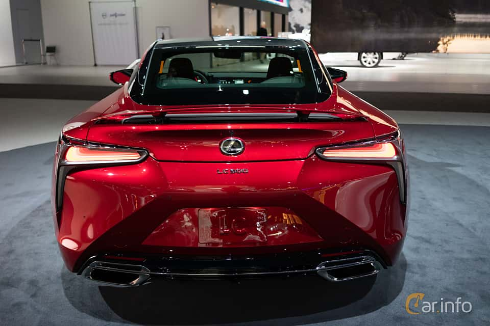 Back of Lexus LC 500 5.0 V8 Automatic, 477ps, 2019 at LA Motor Show 2018