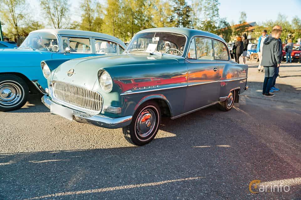 """Front/Side  of Opel Olympia Rekord 2-door 1.5 Manual, 45ps, 1957 at Nyköpings hamnträffar 2019 Vecka 20  Tema: """"Kvinnor vid ratten"""""""