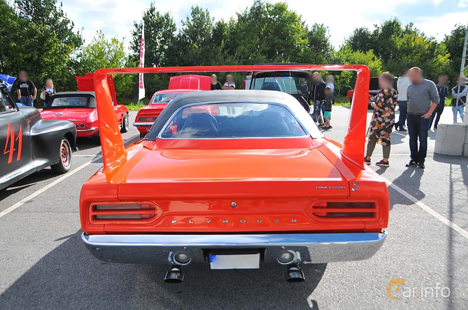 Back of Plymouth Road Runner Superbird 7.2 V8 TorqueFlite, 375ps, 1970 at Biltema Gatbilar Lund 2018