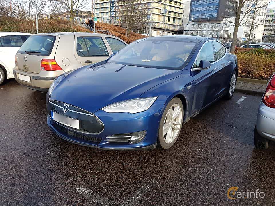 Fram/Sida av Tesla Model S 85D 85 kWh AWD Single Speed, 423ps, 2016