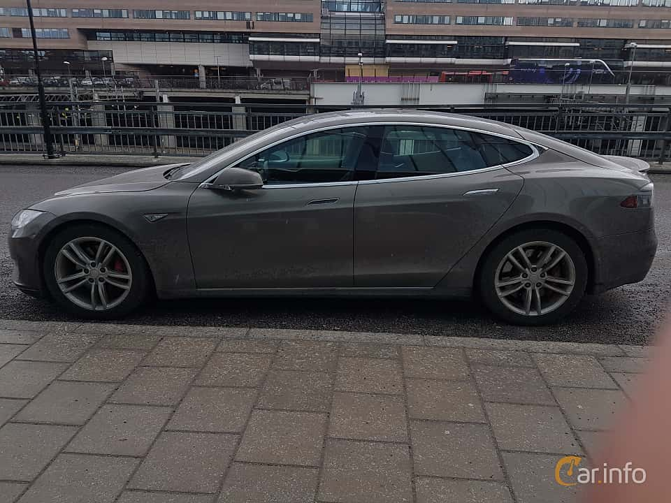 Side  of Tesla Model S P90D 90 kWh AWD Single Speed, 511ps, 2016