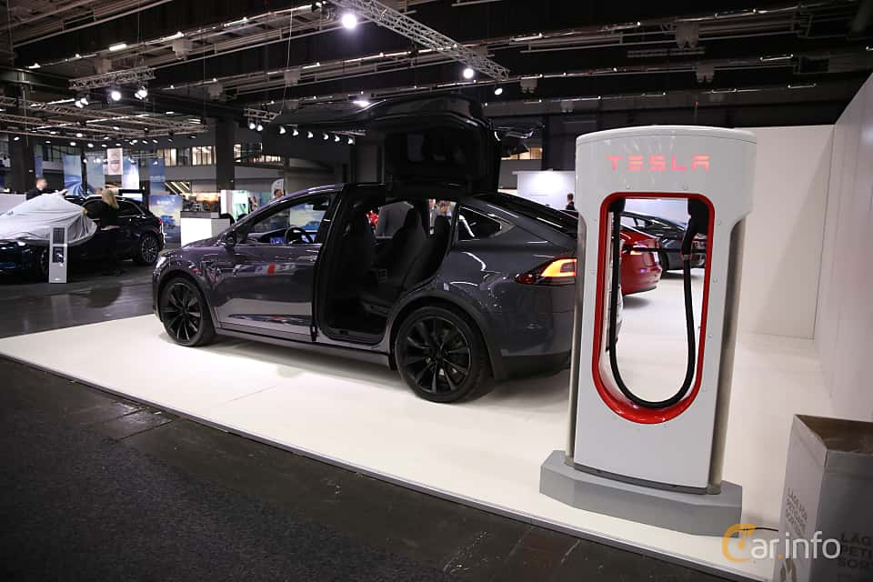 Back/Side of Tesla Model X 100D 100 kWh AWD Single Speed, 423ps, 2018 at eCar Expo Göteborg 2018