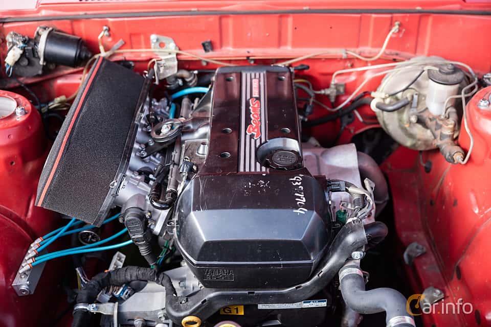 Motorutrymme av Toyota Corolla 2-door Sedan 1.3 Manual, 60ps, 1982 på JapTuning Trackday 2018 Knutstorp