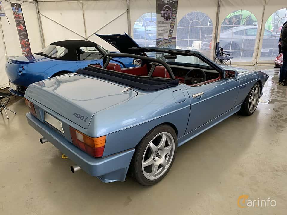 Back/Side of TVR 350i Convertible 3.5 V8 Manual, 193ps, 1985 at Svenskt sportvagnsmeeting 2019